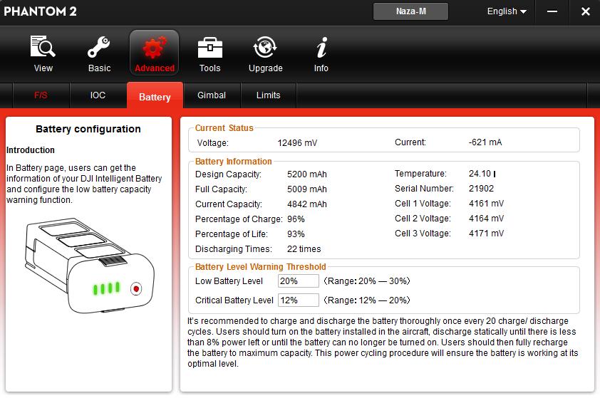 Alle Infos zum eingelegten 3S Phantom-LiPo
