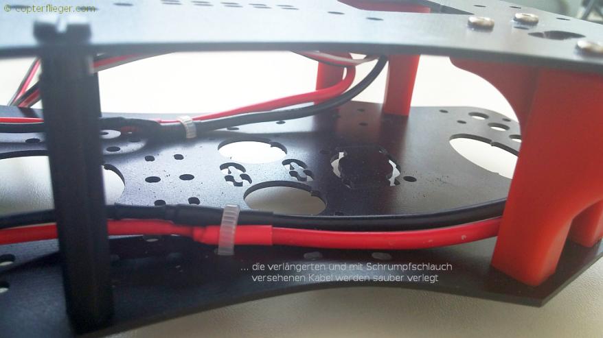 Die verlängerten Kabel werden sauber verlegt
