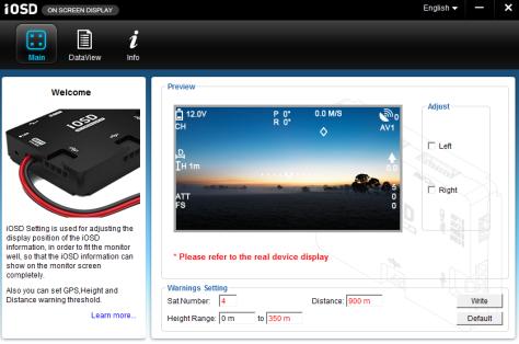 Haupt-Bildschirm der Software