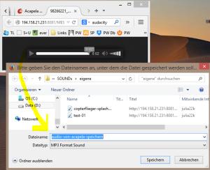 Rechtsklick erlaubt das speichern des Audio Files