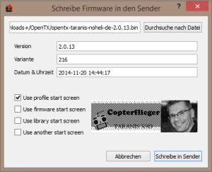 OpenTX Companion Firmware in Sender schreiben