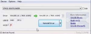 Zadig: Es sollte STM32 Bootloader & WinUSB ausgewählt sein