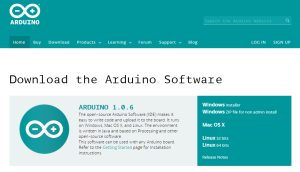 Screenshot: Arduino Webseite