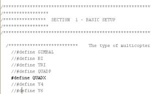 QuadX in config.h aktivieren