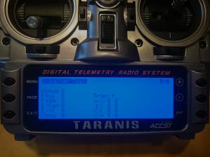 Taranis Schalter Test in den Grundeinstellungen