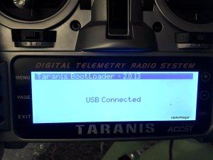 Taranis mit Rechner verbunden: USB Connected