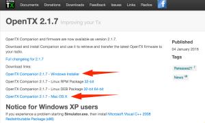 Download von OpenTX Companion für Win und Mac