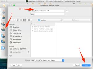 Backup der Taranis FW in eine Datei auf dem Rechner