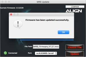 Align MR25: Firmware Update erfolgreich