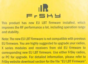 FrSky EU LBT Hinweis