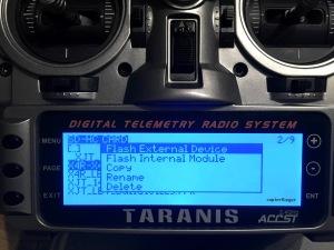 Flash External Device Dialog auf der Taranis